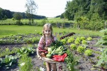 Front view of girl in garden holding vegetables — Stock Photo