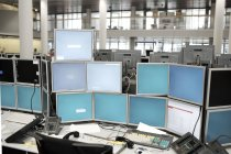 Close up view of group of security displays on workplace — Stock Photo