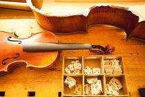 Вид сверху части скрипки предпринимаются — стоковое фото
