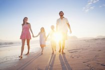 Happy family walking toward camera, holding hands, on sunny beach — Stock Photo