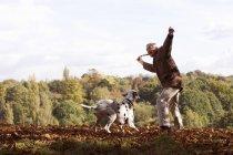 Senior man throwing stick to dalmatian dog — Stock Photo