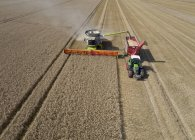 Aerial view of combine harvester harvesting wheat and filling tractor trailer with grain at daytime — Stock Photo