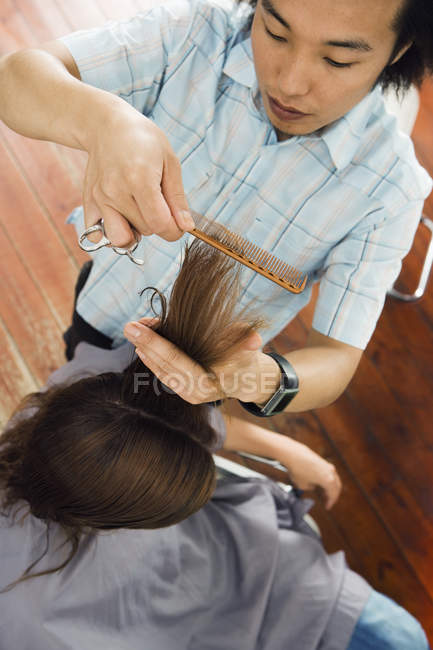 Overhead view of young male hairdresser combing woman's hair in salon — Stock Photo