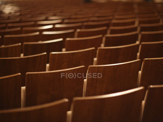 Row of empty chairs in concert hall — Stock Photo