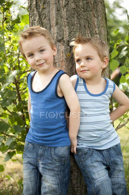 Ritratto dei fratelli gemelli in piedi insieme contro l'albero — Foto stock