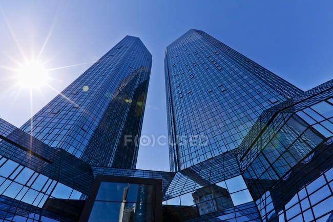 Deutsche Bank Twin Towers, Frankfurt, Hesse, Germany - foto de stock