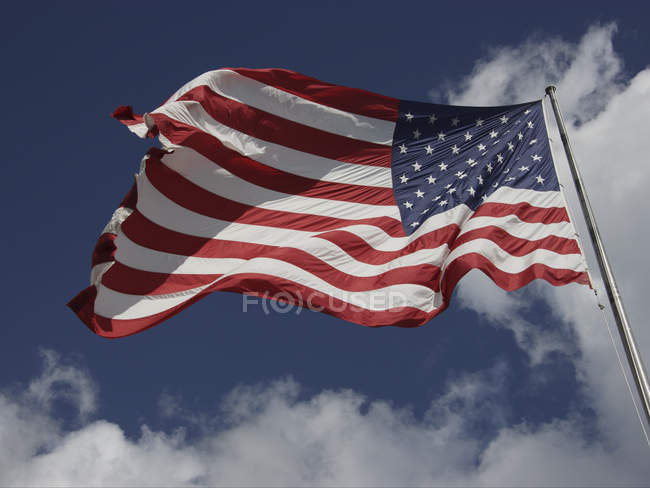 Low angle view of American flag — Stock Photo