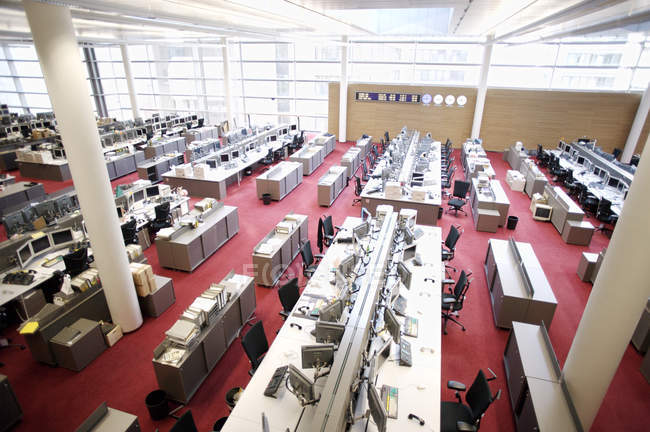High angle view of empty open-space office with rows of workplaces — Stock Photo