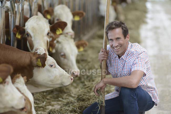 Mann kniet nahe Kuh Stall mit Schaufel und Blick in die Kamera Lächeln — Stockfoto