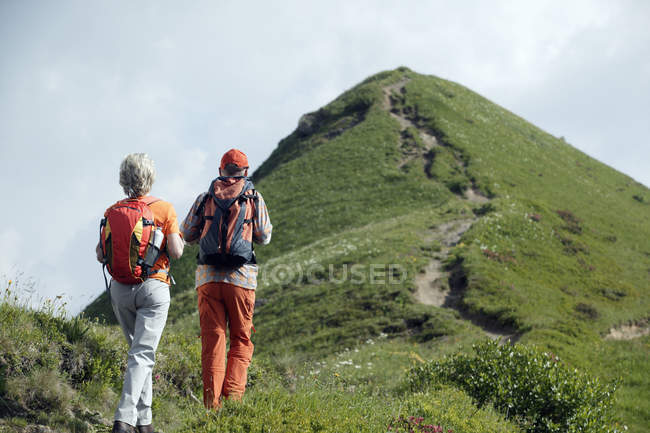 Back view of senior couple with rucksacks hiking on mountain trail — Stock Photo