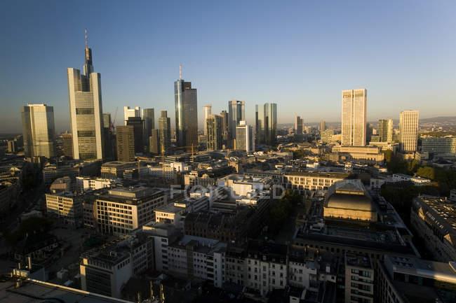 Luftaufnahme der Skyline von Frankfurt, Bankenviertel, Frankfurt, Hessen, Deutschland — Stockfoto