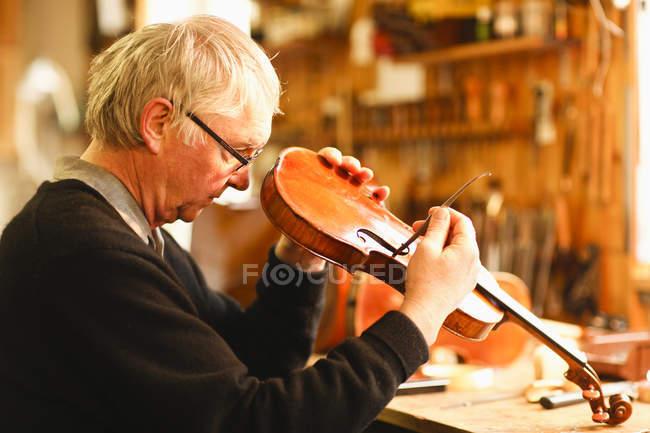 Luthier violon dans l'atelier de vérification — Photo de stock
