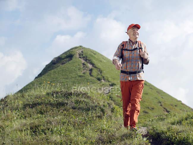Vista frontal do homem sênior com mochila caminhadas na trilha de montanha — Fotografia de Stock