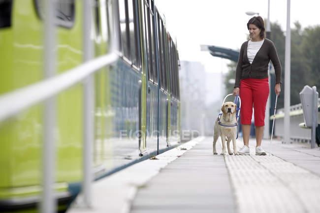 Blinde Frau und sehende Auge Hund am Bahnhof — Stockfoto