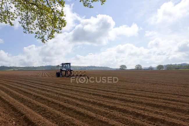 Champ labourage de tracteur — Photo de stock