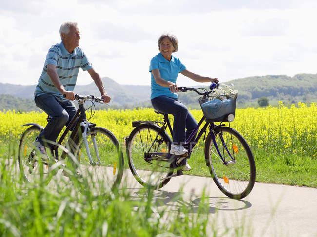 Couple de personnes âgées à vélo dans la campagne — Photo de stock