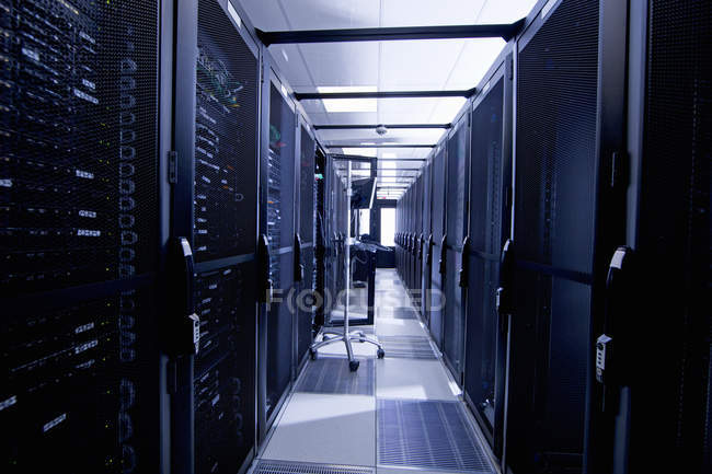 Servers in storage cabinets — Stock Photo