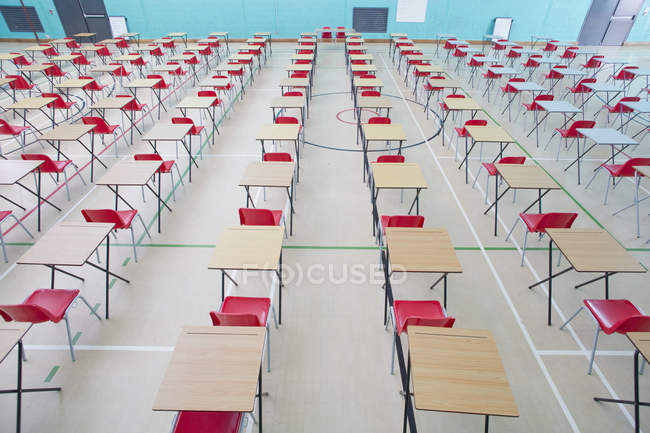 Desks in rows in school gymnasium — Stock Photo