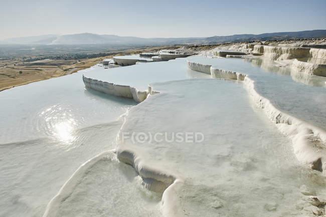 White hot spring terraces, Pamukkale, Anatolia, Turkey — Stock Photo