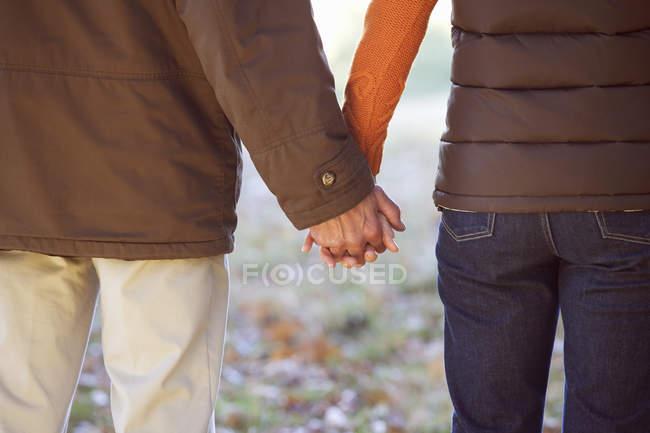 Couple marchant et main dans la main — Photo de stock