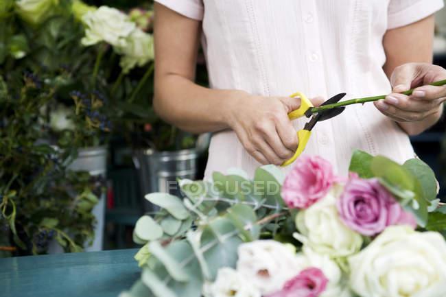 Mains femmes coupe avec des ciseaux rose tige — Photo de stock