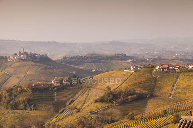 Elevated landscape with autumn vineyards and hill villages, Langhe, Piedmont, Italy — стоковое фото