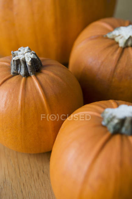 Cerrar calabazas naranjahalloween - foto de stock