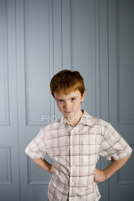 Boy with ginger hair making  a face — Stock Photo
