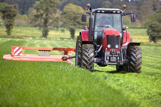 Ensilage de coupe tracteur dans champ de ferme — Photo de stock