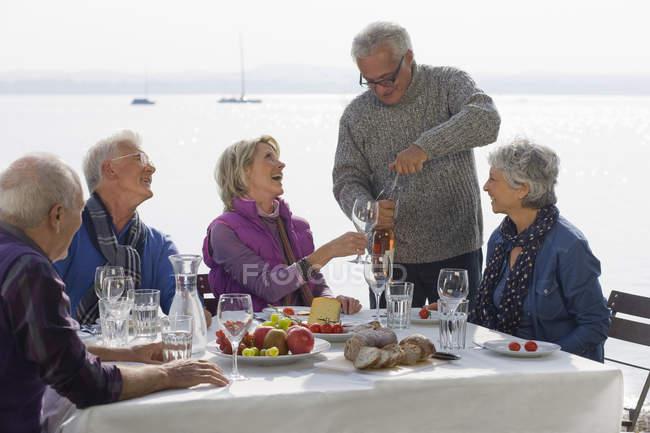 Fünf Senioren Freunde beim Mittagessen an einem See — Stockfoto