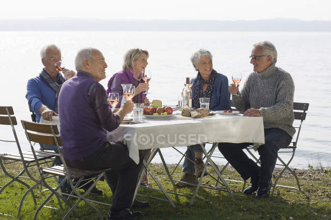 Five senior friends having lunch beside a lake — Stock Photo