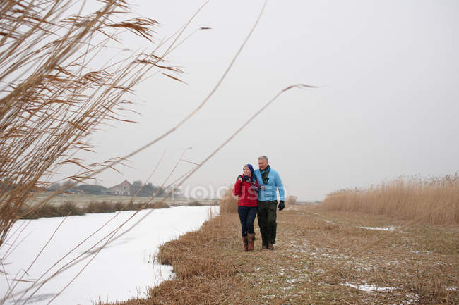 Senior couple walking together near frozen stream on winter day — Stock Photo