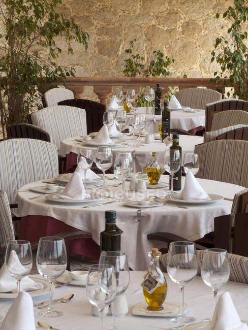 Elegant dining tables in restaurant — Stock Photo