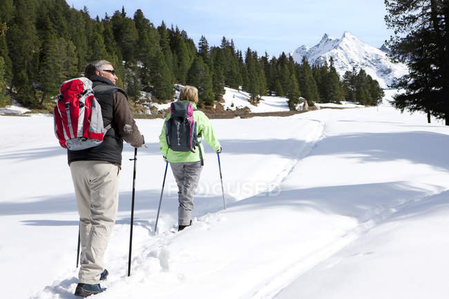Rear view of couple hiking on trail in snow covered wilderness — Stock Photo
