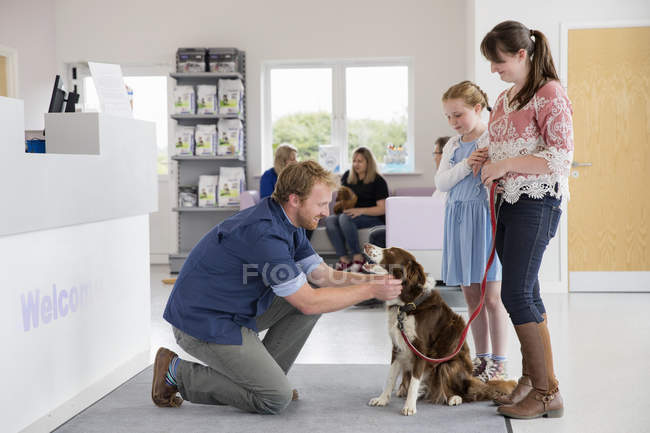 Dueño del perro del animal doméstico con veterinario en recepción sala de espera de cirugía - foto de stock