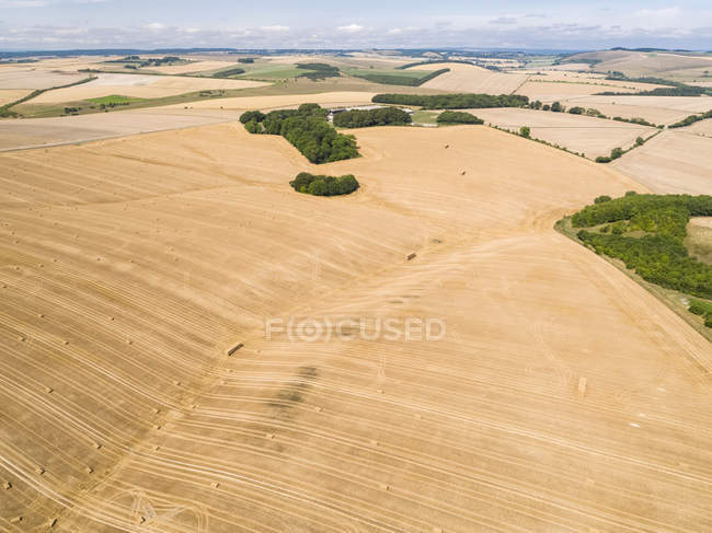 Aerial landscape of harvested summer farm wheat and barley fields and straw bales — Stock Photo