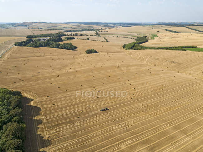 Aerial landscape of tractor baler straw bales in farm fields after wheat harvest in summer — Stock Photo