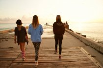 Friends walking at seafront — Stock Photo