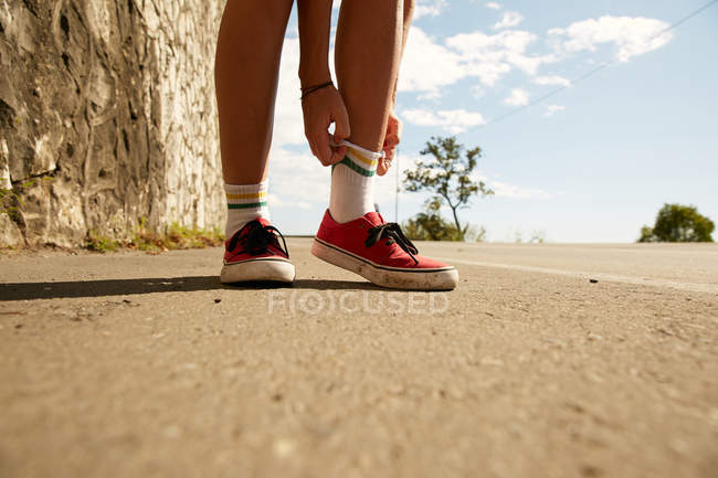 Female legs in knee socks — Stock Photo