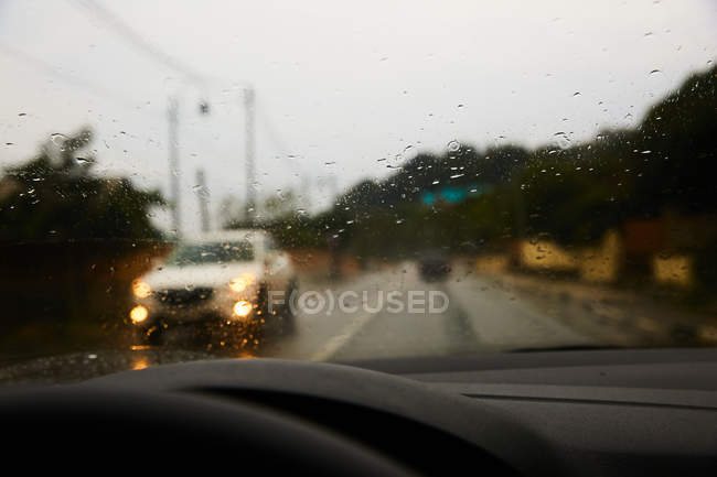 View from car windshield — Stock Photo