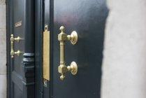 Brass handle on door — Stock Photo