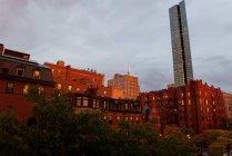 Rainbow over city, Boston, Massachesetts, USA — Stock Photo