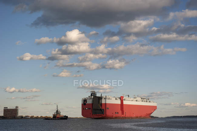 Large cargo ship in Boston Harbor — Stock Photo