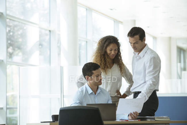 Profesionales revisar documento juntos - foto de stock