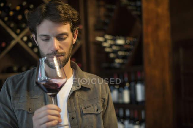 Bewertung der Qualität des Glases Wein Sommelier — Stockfoto