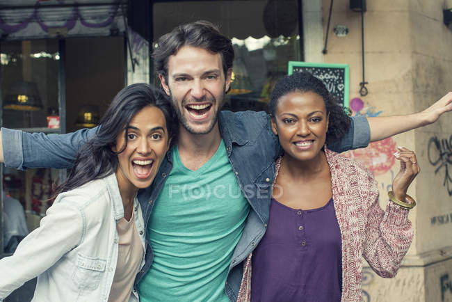 Portrait of smiling multi ethnic Friends — Stock Photo