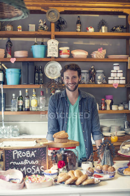 Portrait of smiling Coffee shop owner — Stock Photo
