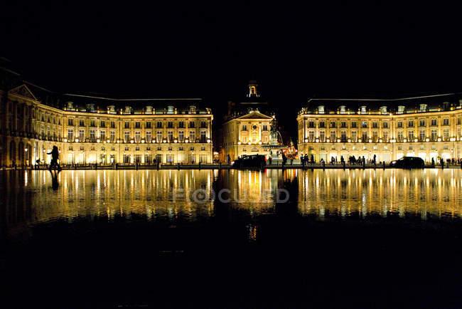 Place de la Bourse lighting at night, Bordeaux, France — Stock Photo