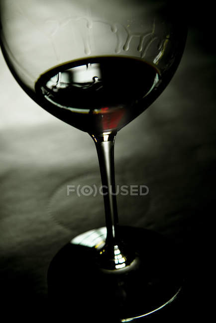 Close up of Glass of red wine with wine tears — Stock Photo