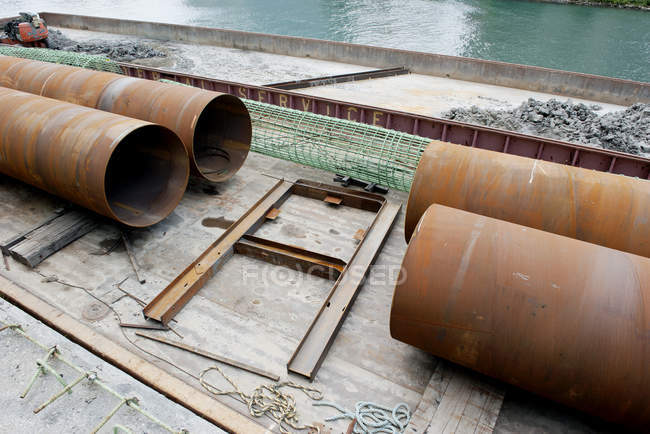 Large pipes at construction site — Stock Photo